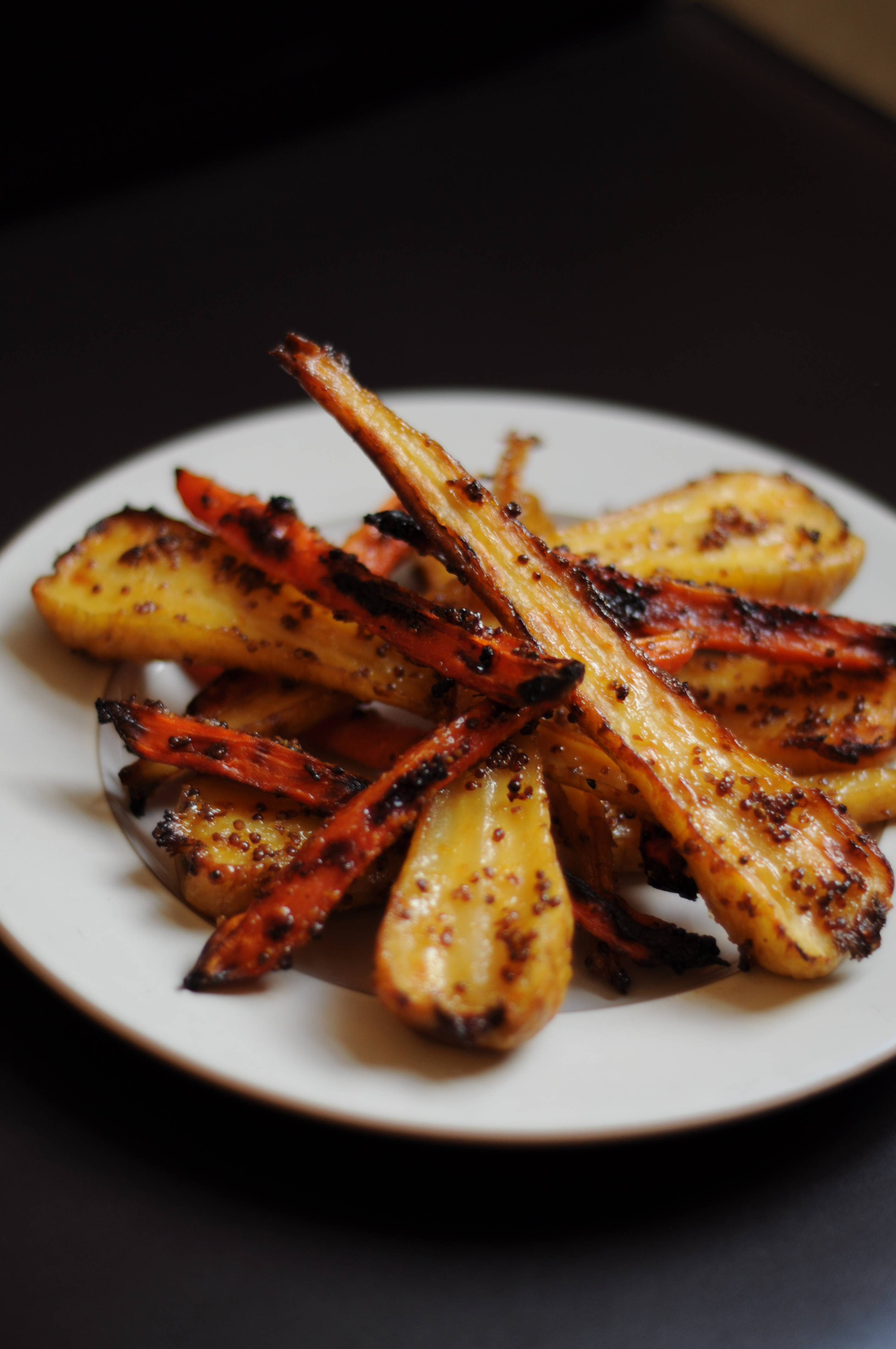 Candied Honey Mustard Parsnips and Carrots – Feta & Arepa